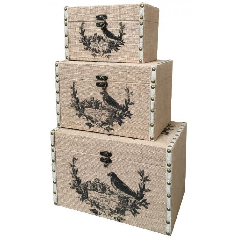 coffre malle de rangement bois toile de jute 40x26 malle blanc. Black Bedroom Furniture Sets. Home Design Ideas