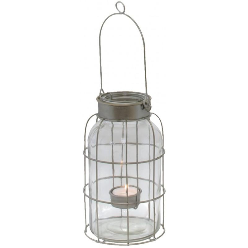 bocal lanterne temp te poser ou suspendre en fer lanterne d 39. Black Bedroom Furniture Sets. Home Design Ideas