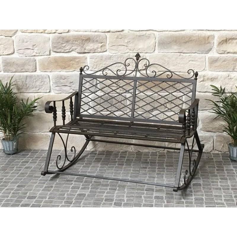 grand banc fauteuil rocking chair en fer de jardin rocking chair fer chemin de campagne. Black Bedroom Furniture Sets. Home Design Ideas