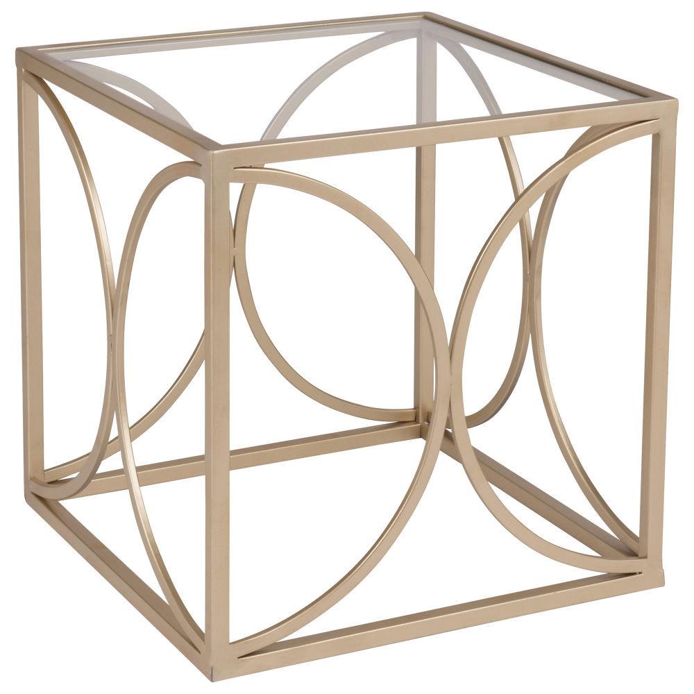bout de canap en verre et m tal dor bout de canap 35. Black Bedroom Furniture Sets. Home Design Ideas