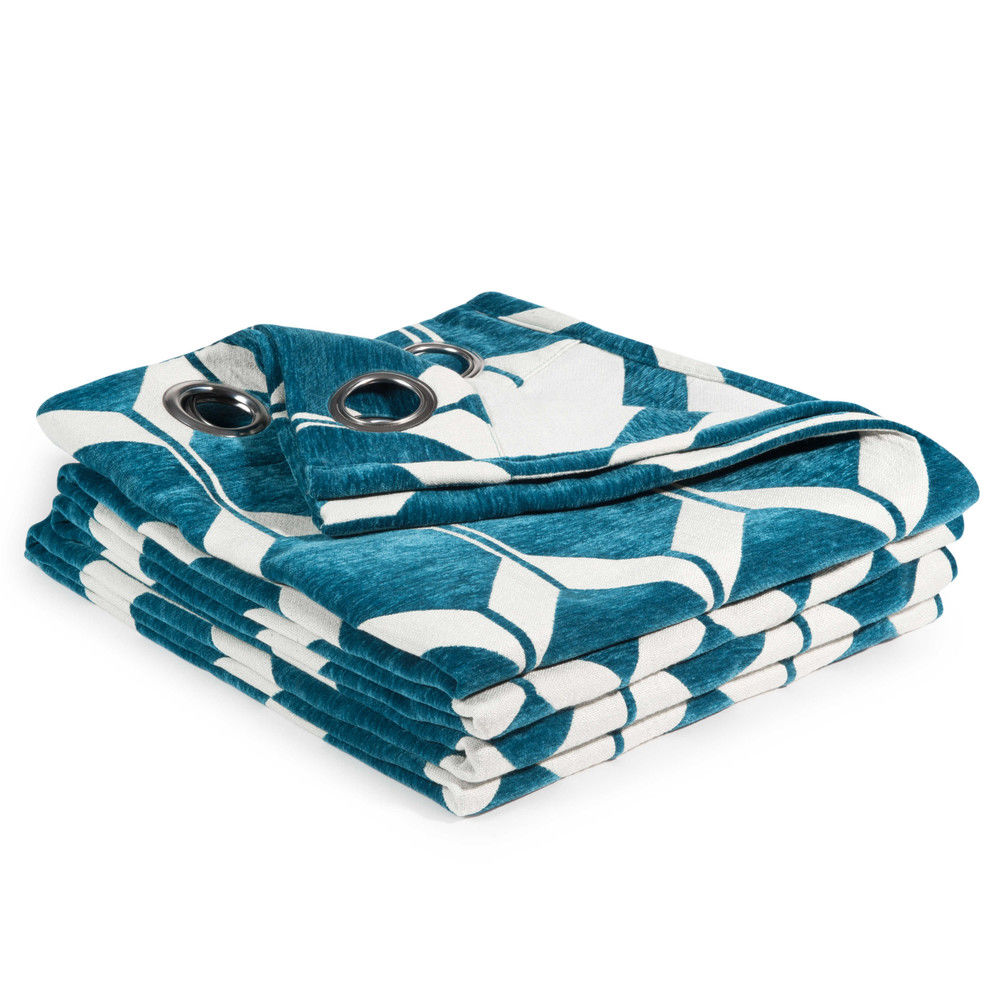 Rideau Motifs Bleu Canard 140x300 Astonrideaux à Oeillets Bleu