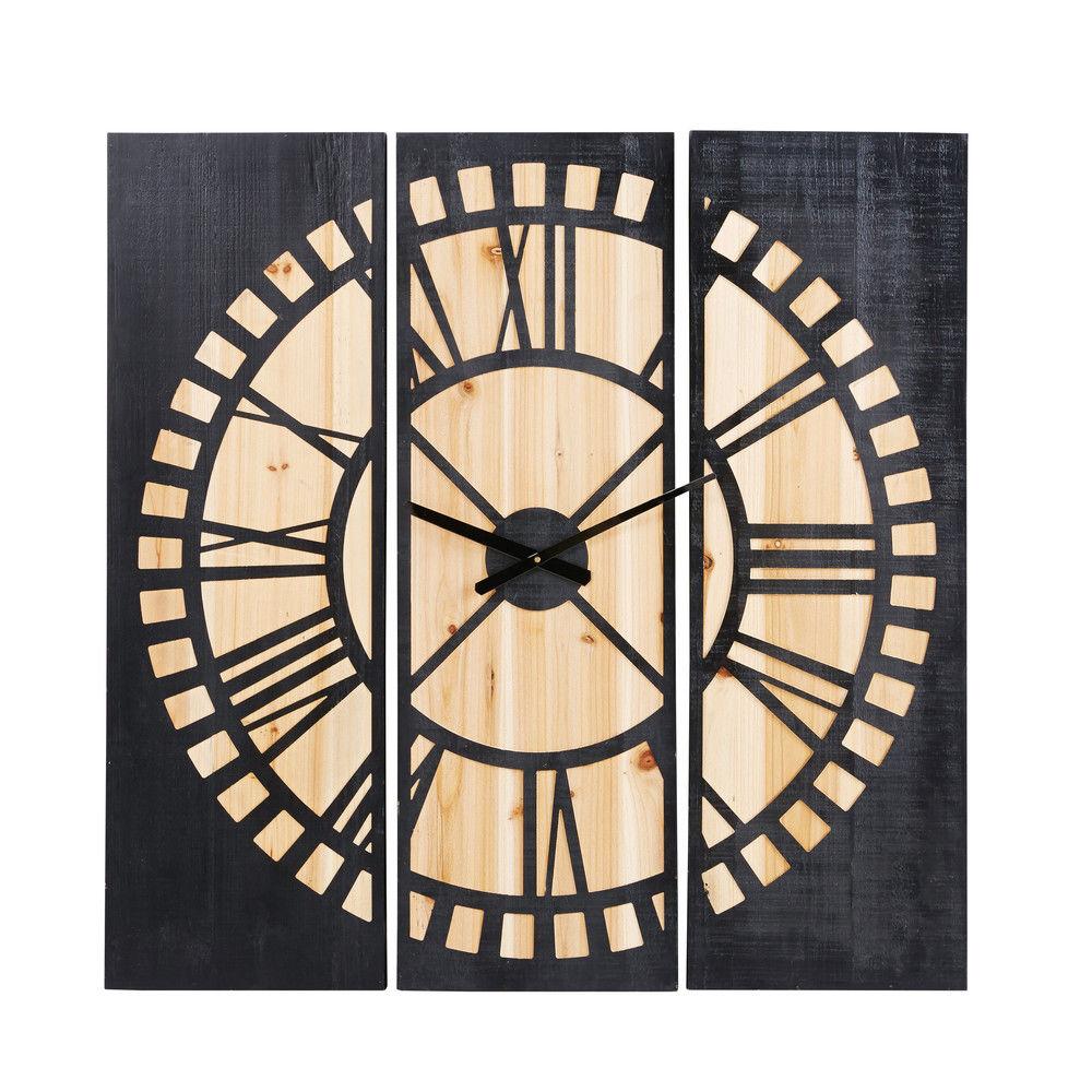 Horloge Triptyque En Sapin Sculpté Noirhorloge Murale Noir