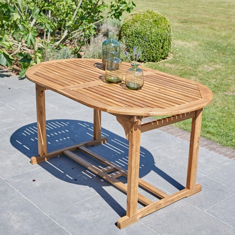 Table en bois d 39 acacia fsc 6 8 places salle manger - Table de salle a manger en bois ...