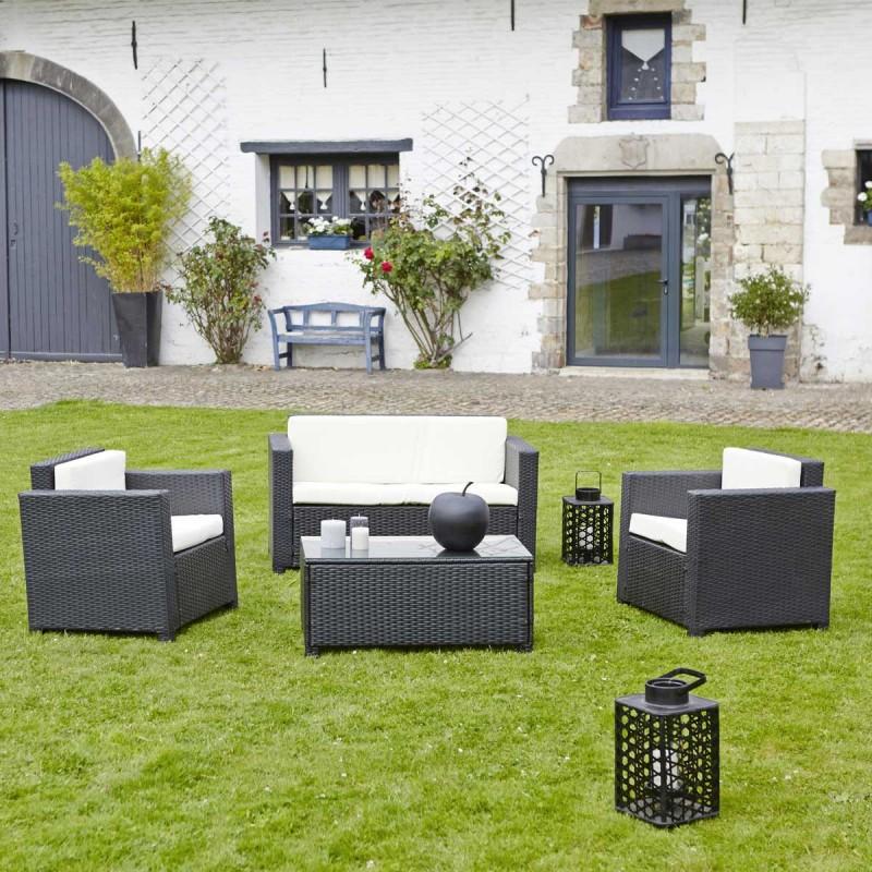 Salon de jardin en résine tressée CELIO noir - Salon de jardin ...