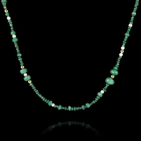 Expertissim - Collier-Expertissim-Collier perles d'émeraudes, or et perles de cultu