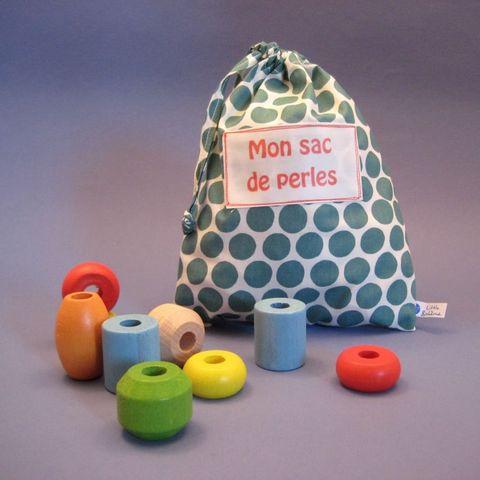 LITTLE BOHEME - Jouet en bois-LITTLE BOHEME-Sac de perles personnalisé P'tits pois en coton b
