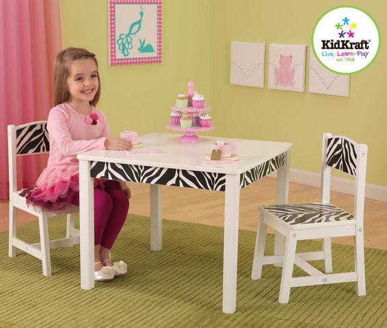 KidKraft - Chaise de Table enfant-KidKraft-Salon table et chaises pour enfant en bois zebra