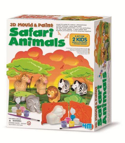4M - Jeu de société-4M-Kit de moulage et peinture safari animalier