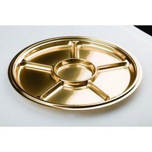 Adiserve - Vaisselle jetable-Adiserve-Plat rond 6 compartiments Or 30,5 cm Couleurs Or