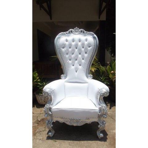 DECO PRIVE - Décor évènementiel-DECO PRIVE-Trone royal pour mariage argent et imitation cuir