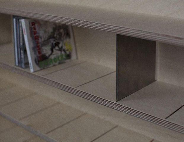 MALHERBE EDITION - Bibliothèque sur mesure-MALHERBE EDITION-Etagère à CD, séparations Inox