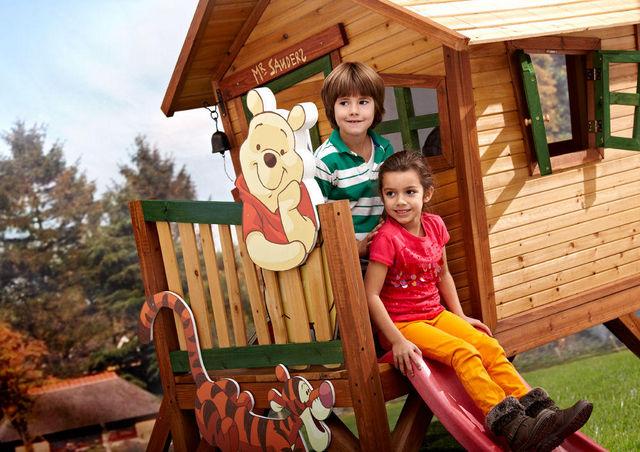 AXI - Maison de jardin enfant-AXI-Maisonnette winnie l'ourson sur pilotis en cèdre