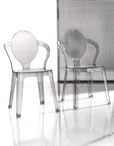 WHITE LABEL - Chaise-WHITE LABEL-Lot de 2 chaises design SPOT en plexiglas transpar