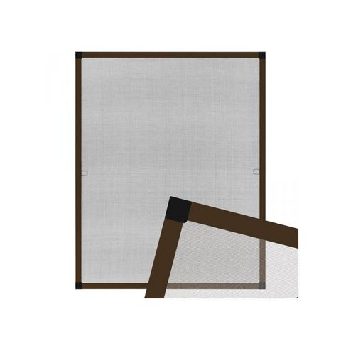 WHITE LABEL - Moustiquaire de fenêtre-WHITE LABEL-Moustiquaire pour fenêtre cadre fixe en aluminium 130x150 cm brun