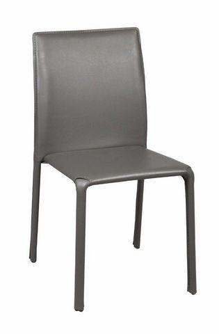 WHITE LABEL - Chaise-WHITE LABEL-Chaise DIVA en PVC gris