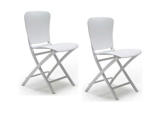 WHITE LABEL - Chaise pliante-WHITE LABEL-Lot de 2 chaises pliante ZAK design blanc