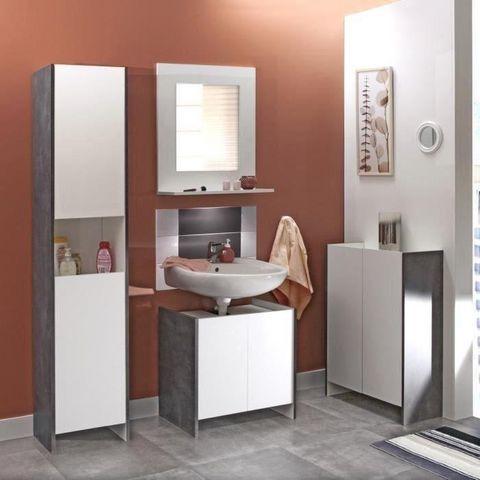 WHITE LABEL - Meuble sous-vasque-WHITE LABEL-Meuble sous-vasque DOVA design effet béton 2 porte
