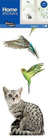 Nouvelles Images - Sticker Décor adhésif Enfant-Nouvelles Images-Sticker fenêtre perruche et chat
