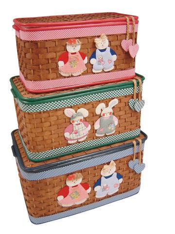 Aubry-Gaspard - Coffre à jouets-Aubry-Gaspard-Coffre à jouets en bambou marron (Lot de 3)