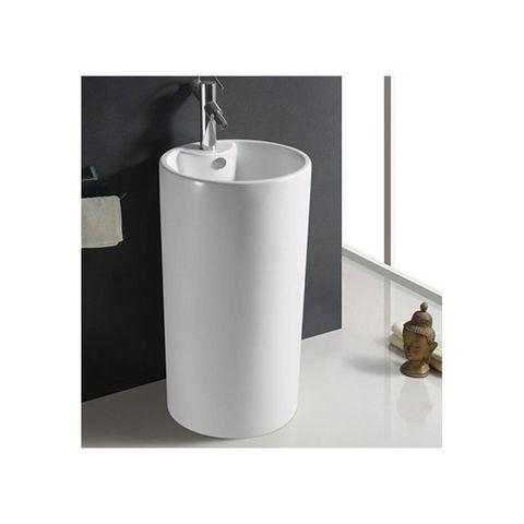 Rue du Bain - Lavabo sur colonne ou pied-Rue du Bain-Lavabo Totem Cylindre, 46x82 cm, Céramique Blanc,