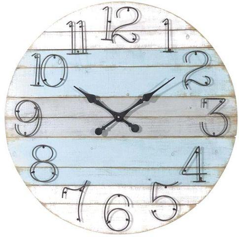 Aubry-Gaspard - Horloge murale-Aubry-Gaspard-Horloge ronde en bois Marine