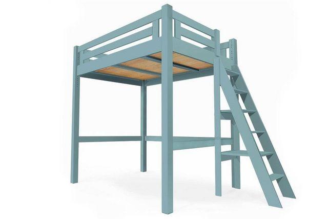 ABC MEUBLES - Autres Divers Mobilier Lit-ABC MEUBLES-Abc meubles - lit mezzanine alpage bois + échelle hauteur réglable bleu pastel 160x200