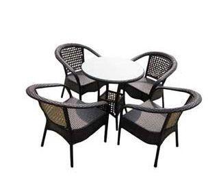 UsiRama.com - Table de jardin ronde-UsiRama.com-PRATIK Table et 4 Fauteils en Résine Tressée