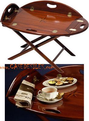 Case des iles - Table basse ovale-Case des iles-Grande table marine en bois d'acajou et laiton : CF003F