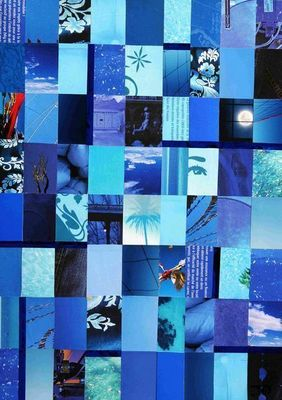 JOHANNA L COLLAGES - Tableau contemporain-JOHANNA L COLLAGES-In the mood for blue