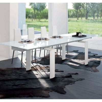 Smart Boutique Design - Table de repas rectangulaire-Smart Boutique Design-Table de Salle à Manger  à rallonges Pieds Blancs