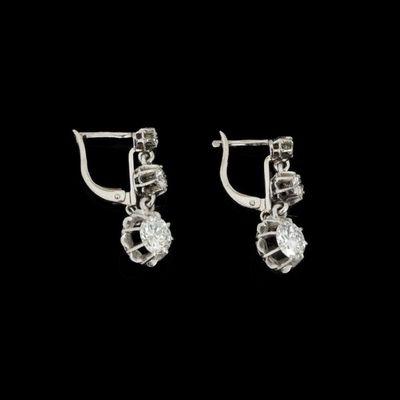 Expertissim - Boucles d'oreilles-Expertissim-Paire de dormeuses en or ornées de trois diamants