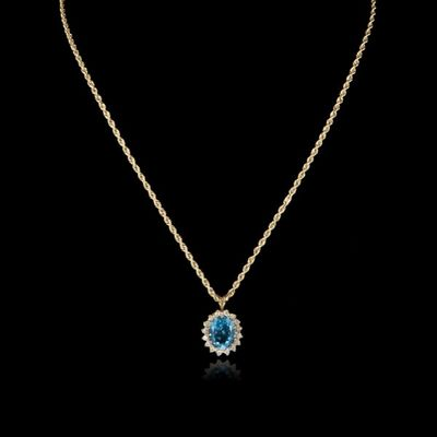 Expertissim - Pendentif-Expertissim-Chaîne et pendentif en or, topaze et diamants