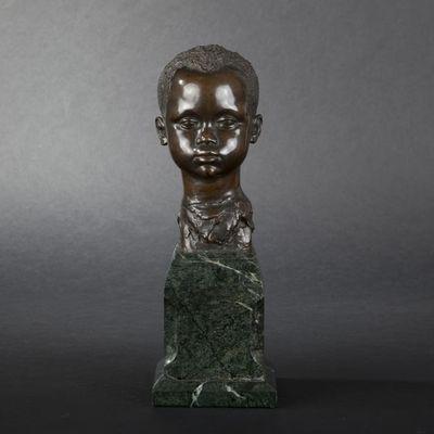 Expertissim - Buste-Expertissim-A. MATTON. Tête de jeune africain en bronze