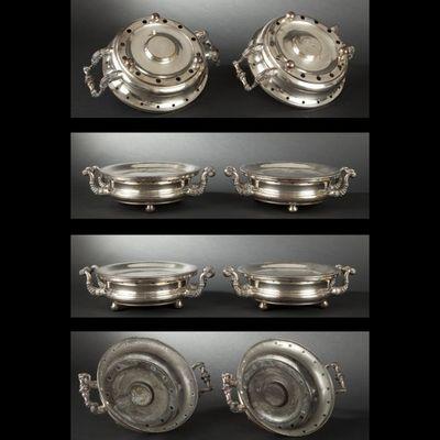 Expertissim - Chauffe-plat-Expertissim-Paire de chauffe-plats ronds en métal doublé. Mili