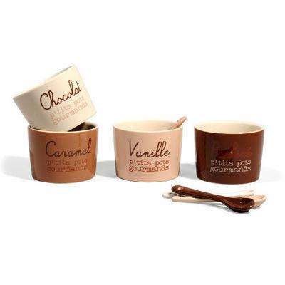 Maisons du monde - Ravier-Maisons du monde-Coffret 4 pots + cuillères Chocolat