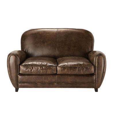 Maisons du monde - Canapé club-Maisons du monde-Canapé 2 places fixe cuir marron Oxford