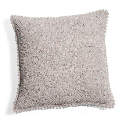 Maisons du monde - Housse de coussin-Maisons du monde-Housse de coussin Crochet gris