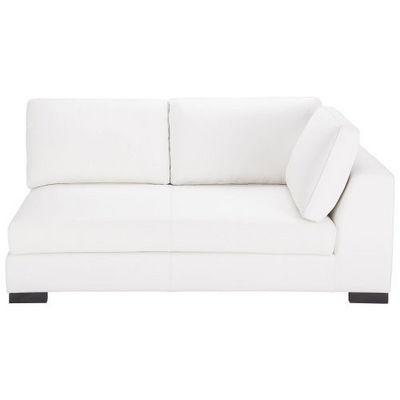 Maisons du monde - Canapé d'angle-Maisons du monde-Canapé manchot cuir droit fixe blanc Terence