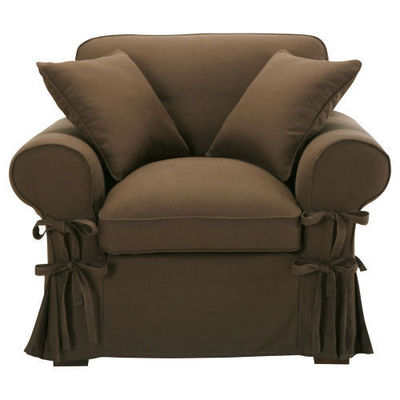 Maisons du monde - Fauteuil-Maisons du monde-Fauteuil coton chocolat Butterfly