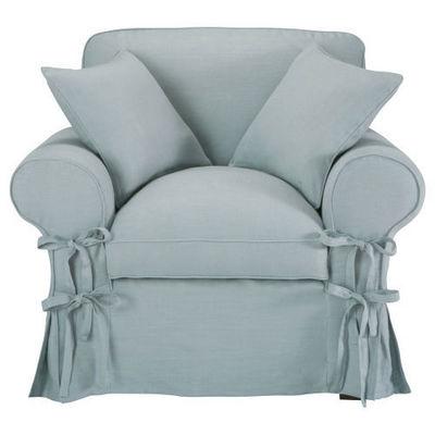 Maisons du monde - Fauteuil-Maisons du monde-Fauteuil lin bleu grisé Butterfly