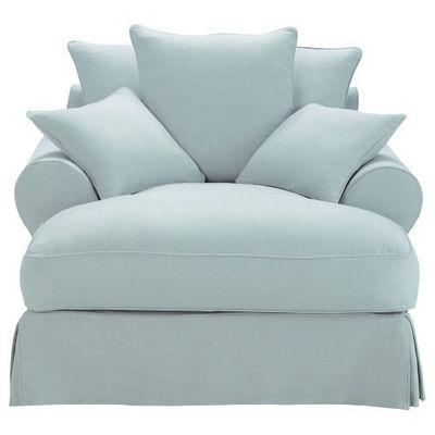 Maisons du monde - Fauteuil-Maisons du monde-Méridienne lin bleu grisé Bastide