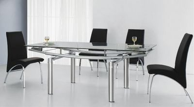 CLEAR SEAT - Table de repas ovale-CLEAR SEAT-Table en verre a Rallonge Extensible Pearl