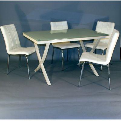 CLEAR SEAT - Table de repas rectangulaire-CLEAR SEAT-Table en Verre Rectangle + 4 Chaises Crème Calice