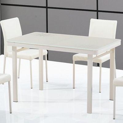 CLEAR SEAT - Table de repas rectangulaire-CLEAR SEAT-Table en Verre Luna Blanc Crème
