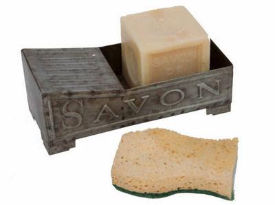 Antic Line Creations - Porte-savon � poser-Antic Line Creations-Porte savon lavoir en zinc 18,4x8,5x7,4cm