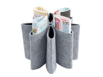 Euraipt's - Porte-revues-Euraipt's-Porte revues flower en feutrine grise 33x23cm