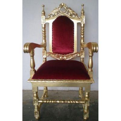 DECO PRIVE - Fauteuil d'apparat-DECO PRIVE-Fauteuil trone dore et velours rouge