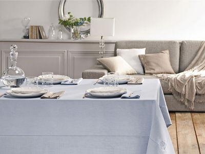 BLANC CERISE - Nappe et serviettes assorties-BLANC CERISE-Nappe - lin déperlant - unie, brodée