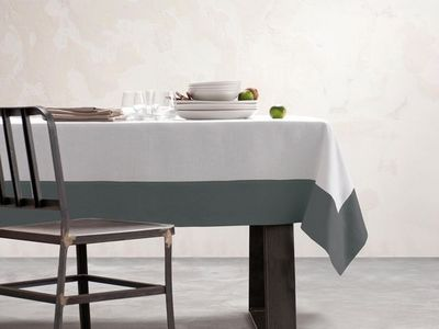 BLANC CERISE - Nappe rectangulaire-BLANC CERISE-Nappe - blanc et gris - lin déperlant - unie, brod