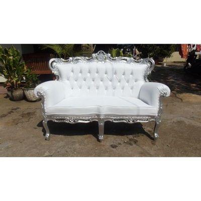 DECO PRIVE - Canapé 2 places-DECO PRIVE-Sofa baroque blanc et bois argente French sofa